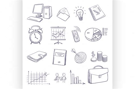 doodle and draw set draw doodle business icon set icons on creative market