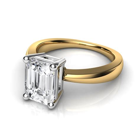 Wedding Rings Emerald Cut by Emerald Cut Solitaire Engagement Ring In 14k