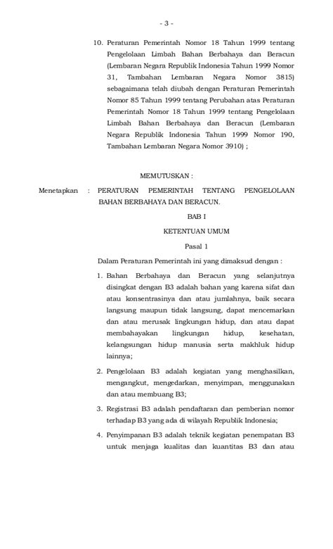 peraturan pemerintah no 74 tahun 2001 tentang pengelolaan bahan berb