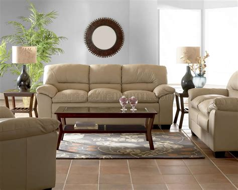 comfy living room furniture beige full leather modern comfortable living room w pillow top