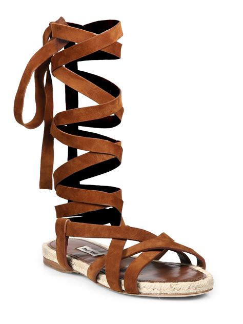 brown lace up sandals miu miu suede espadrille lace up flat sandals in brown