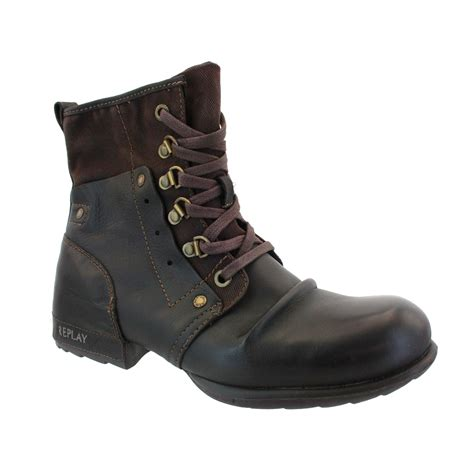 replay boots replay akart leather canvas lace up mid boots br ebay