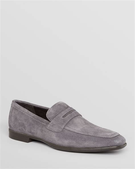 bruno magli suede loafers bruno magli millonia suede loafers in gray for