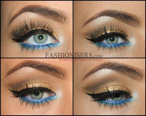 eyeliner tutorial waterline gold makeup tutorial with blue under eye liner fashionisers