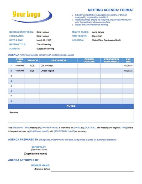 Free Meeting Agenda Templates Smartsheet Cheekoo Meeting Schedule Template