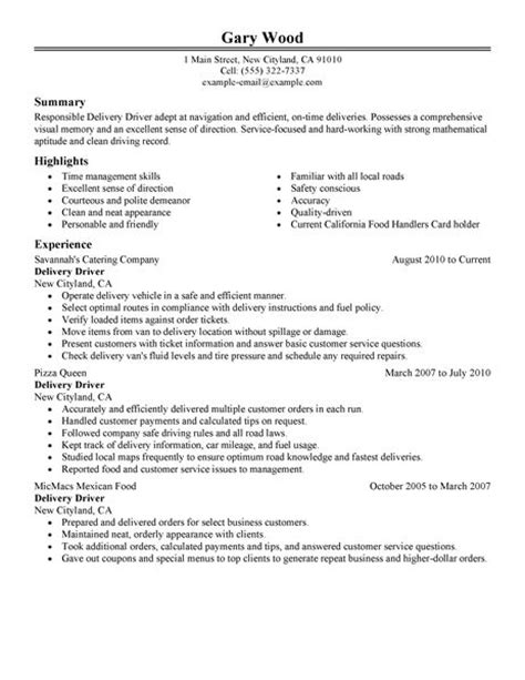 Delivery Driver Resume Exles by Best Restaurant Bar Delivery Driver Resume Exle Livecareer