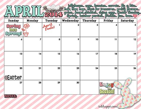 Easter 2014 Calendar April Calendar And Print Is Here Inkhappi