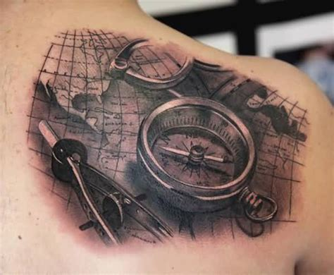 compass tattoo upper back old compass and map tattoo on upper back tattooshunter com