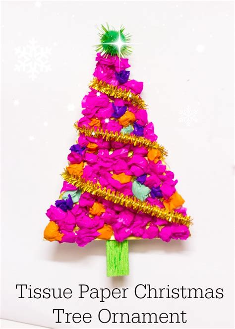 How To Make A Paper Ornament - tissue paper tree ornament make and takes