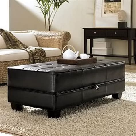 faux leather ottoman coffee table riverside saxon faux leather large cocktail storage