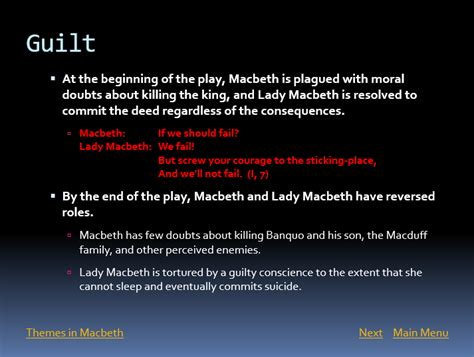 themes macbeth guilt shakespearehelp com macbeth powerpoint presentation