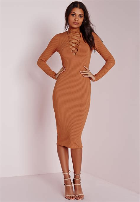 Lace Up Sleeve Dress missguided ribbed sleeve lace up midi dress in