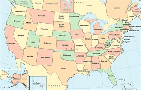 map us by state united states map color map with surrounding areas