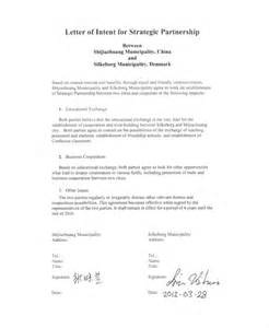 Letter Of Intent In Business Letter Of Intent For Business Partnership Sle Sle Of Business Letter Intent In