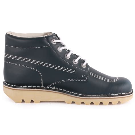 Kickers New Shingkay Leather Brown kickers kick high mens leather navy ankle boots new shoes