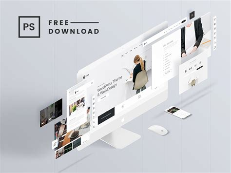 design mockup website free perspective website psd mockup templates designazure com