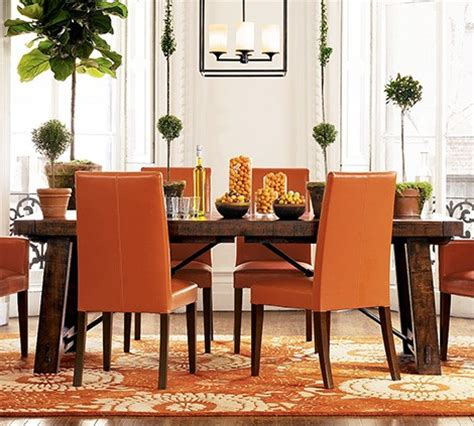 Orange Dining Room Carpet Distressed Wood Dining Table From Pottery Barn New