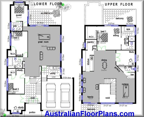 2 storey home hillside construction floor plans blue