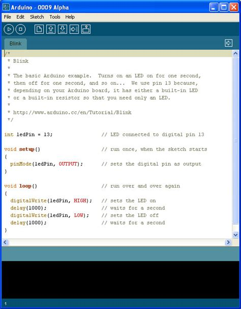 code arduino blink robotic arts intro spring 13