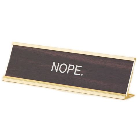 desk plates nope office desk name plate funny office gift