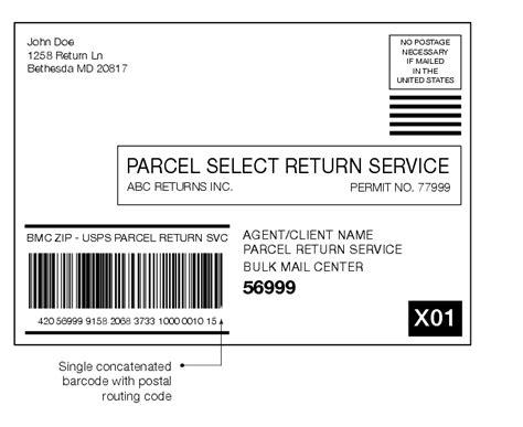 shows a parcel return services label addressed to a bulk
