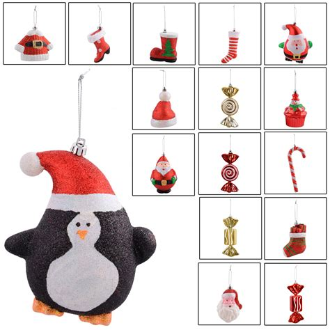range of hanging christmas festive xmas tree decorations