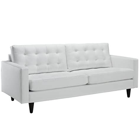 Modway Empress Leather Tufted Sofa In White Eei 1010 Whi White Tufted Sofa