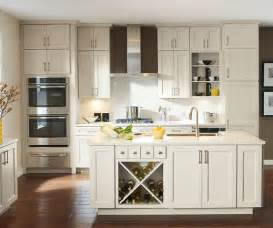 Off white cabinets in casual kitchen diamond cabinetry