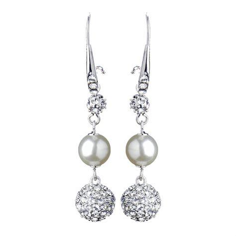 silver diamond white pearl clear rhinestone pave ball dangle earrings