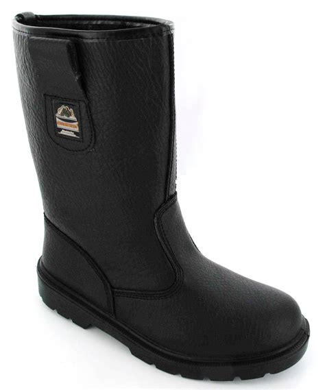 mens black cap toe boots mens work black safety rigger boots shoes steel