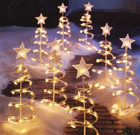 lighted spiral tree garden stakes