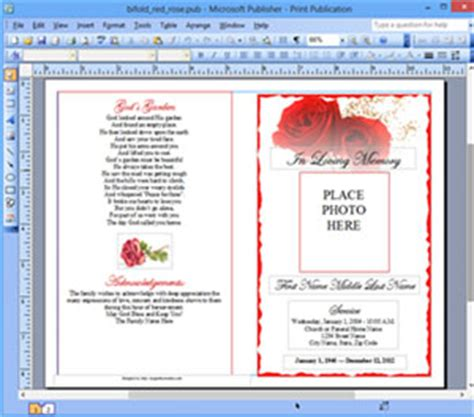 funeral program template microsoft publisher memorial ms