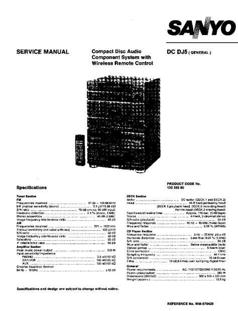 SANYO DC-DJ5 SM Service Manual download, schematics