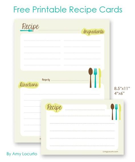 free printable 4x6 recipe card template free printable recipe cards 4x6 or letter sized for a 3