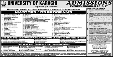 Mba Admission In Karachi 2016 by Of Karachi Uok Admission 2017 In Bachelor And
