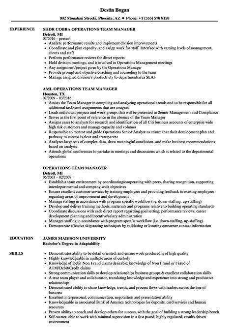 team manager resume exles operations team manager resume sles velvet