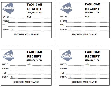 Taxi Receipt Template by Taxi Receipt Template 11 Free For Word Pdf
