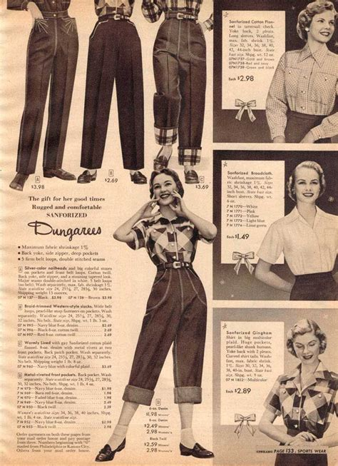 vintage s dungarees from a 1952 sears catalog