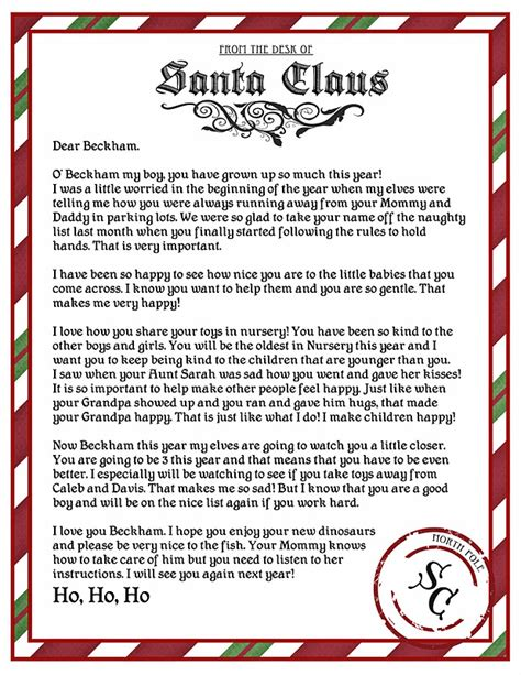 printable return letter from santa letter from santa printable