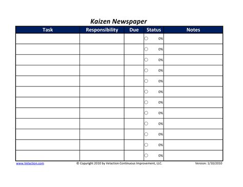 kaizen card template kaizen newspaper free available velaction