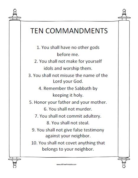 Printable 10 Commandments Free Printable Ten Commandments Printable Pages Ten Commandments Printable Template