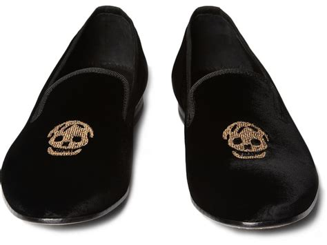 Embroidered Skull Slipper by Mcqueen Skull Embroidered Velvet Slippers