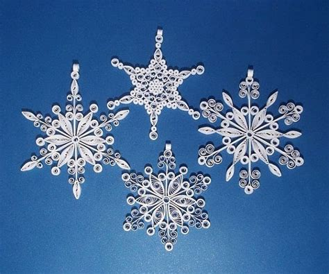 handmade new year decoration quilled snowflake ornament set of 4 different