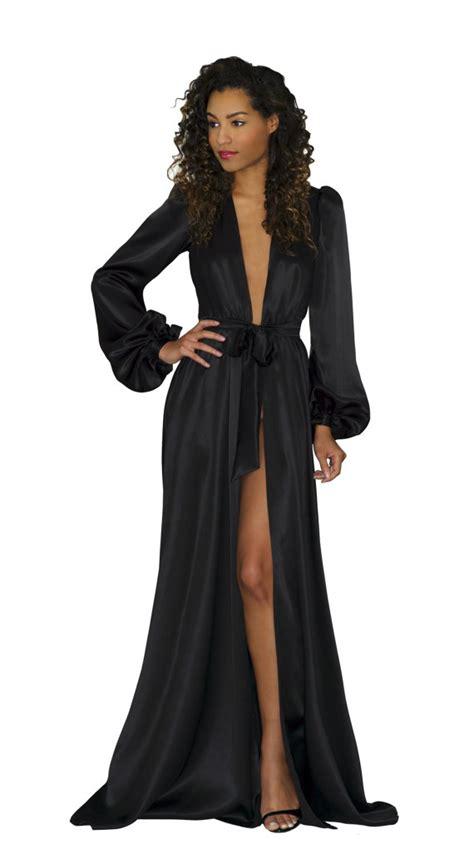 Floor Length Robes by Robe In Black Silk Charmeuse Satin Floor Length