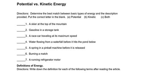 kinetic vs potential energy worksheet potential vs kinetic energy worksheet worksheets reviewrevitol free printable worksheets and
