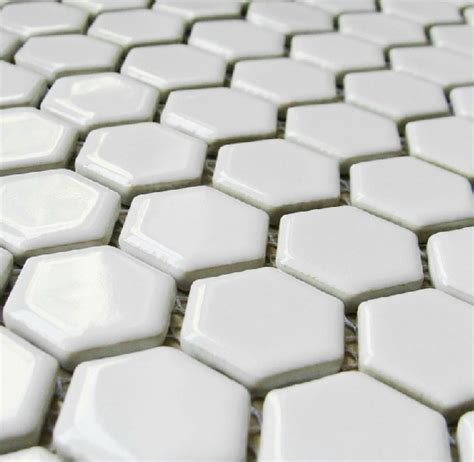 glossy white porcelain tile kitchen backsplash wall tiles pcmt050 hexagon mosaic bathroom tile