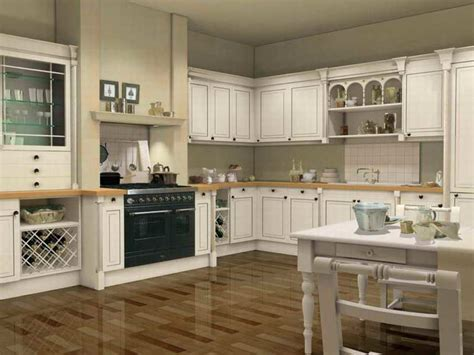 provincial kitchen decorating ideas with white kitchen cabinet and soft grey wall color