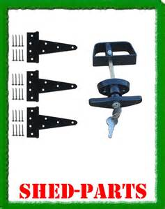 Shed door kit 5 quot hardware hinges lock keys single building parts
