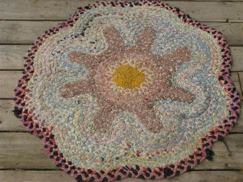 antique rag rugs flower shape antique vintage braided cotton fabric rag rug floor mat
