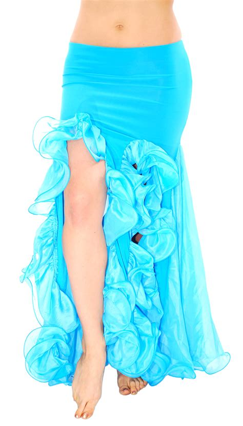 Mermaid Skirt Blue trumpet mermaid skirt with ruffles slits blue turquoise
